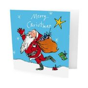 Pack of 10 Quentin Blake Alzheimer's Society Charity Christmas Cards - Santa with Presents